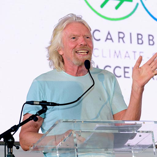 Richard Branson speaking at the Caribbean Climate-Smart Accelerator