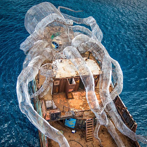 Trawler with giant model of an octopus